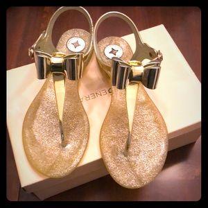 BCBGeneration Gold Glitter Bow Sandals